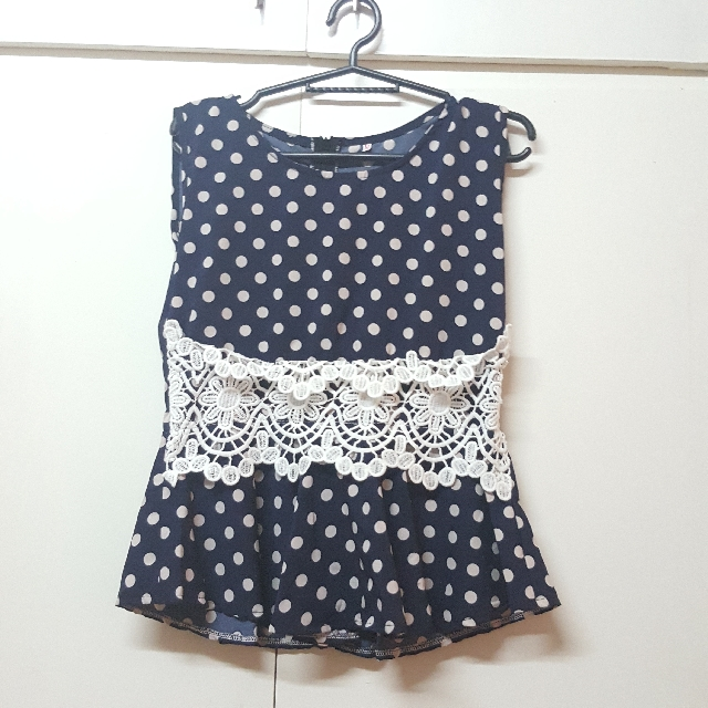 Navy Blue Polka Dots Blouse