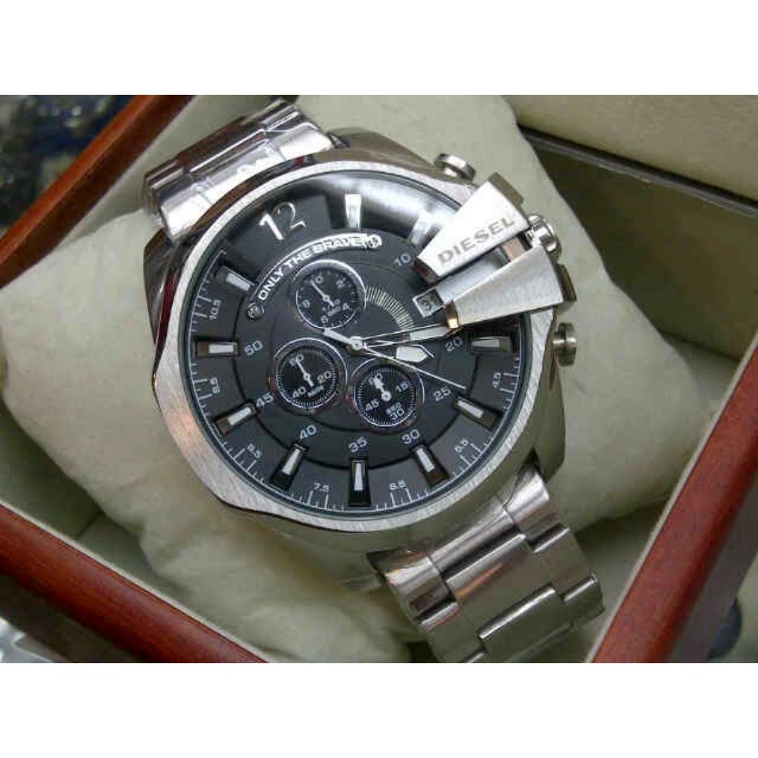 mens watches men leather s watch dial diesel chief white mega chronograph