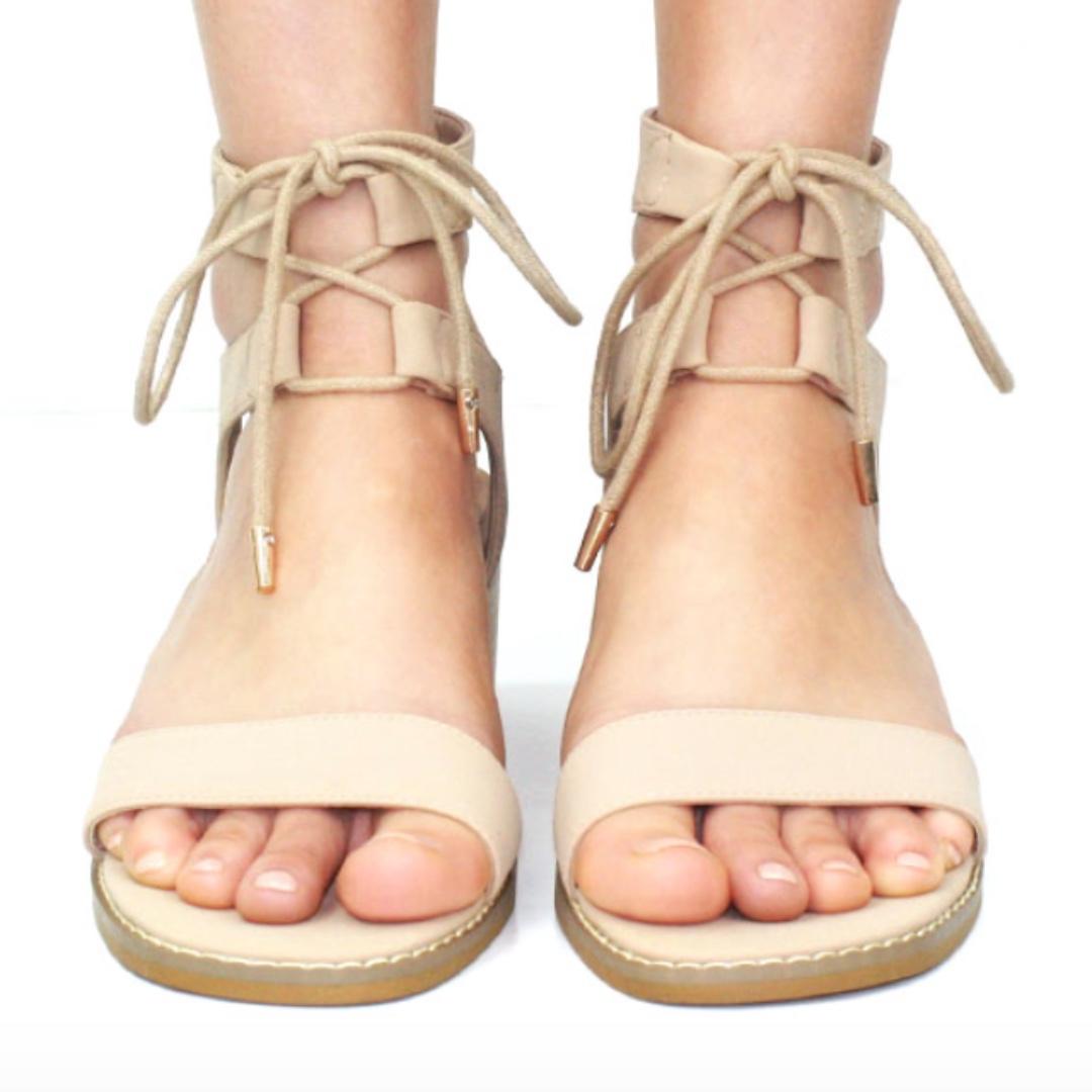 Nude Tie Up Heeled Sandals, Size 6
