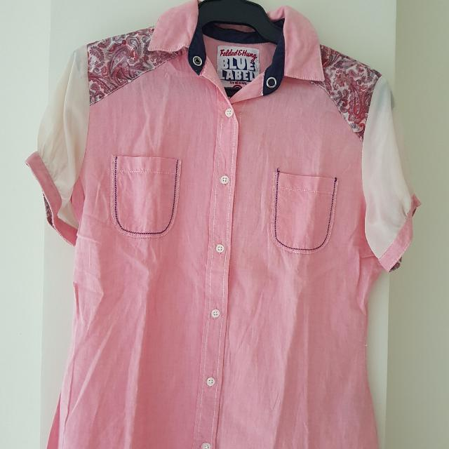 Pink Polo Blouse - Folded and Hung