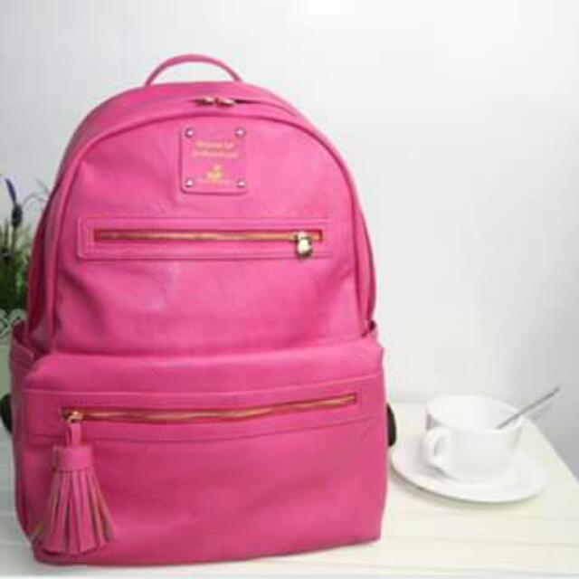 Pink PU Leather Bag With Tassle