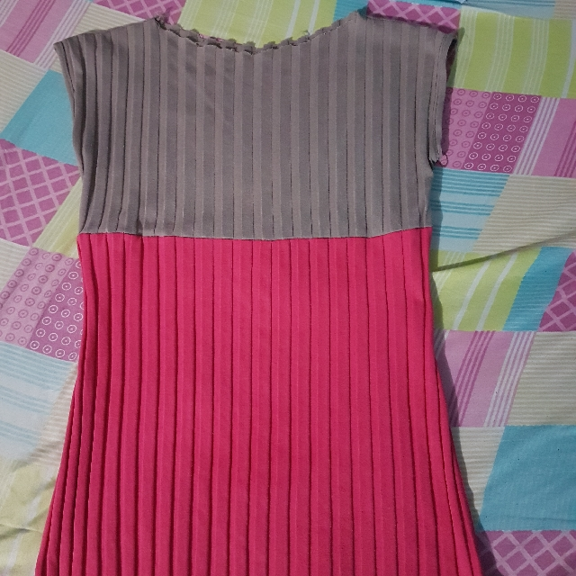 Pink With Gray Sleeveless