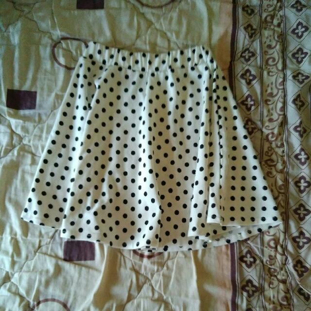 Polkadot White Skirt