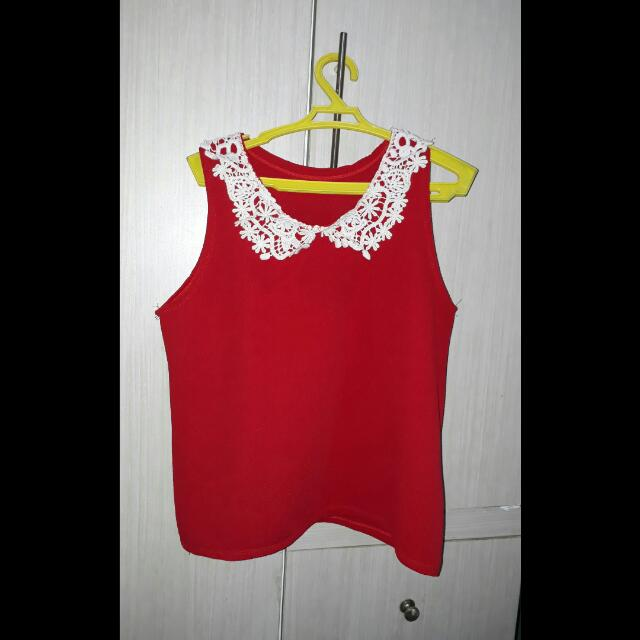Red Laced Blouse