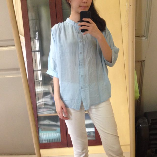 Shanghai Neck Basic Blue Shirt