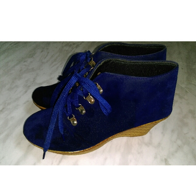 Solid Velvet Wedges/ Boots- Size 41