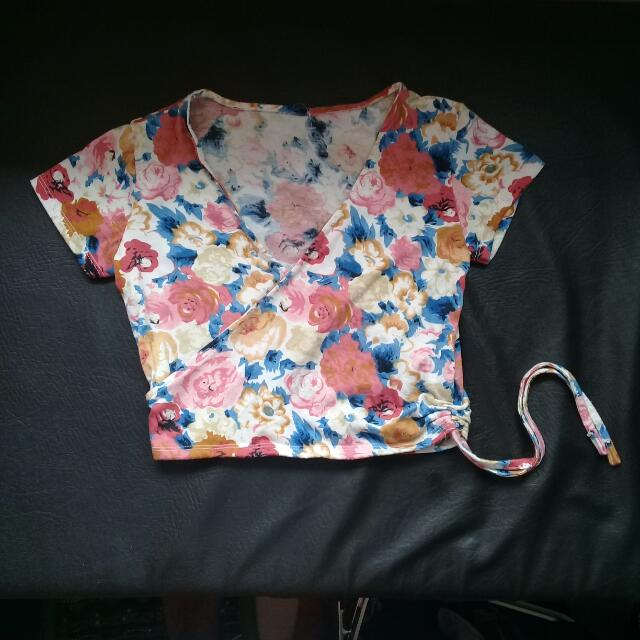 Summer Floral Midriff Top