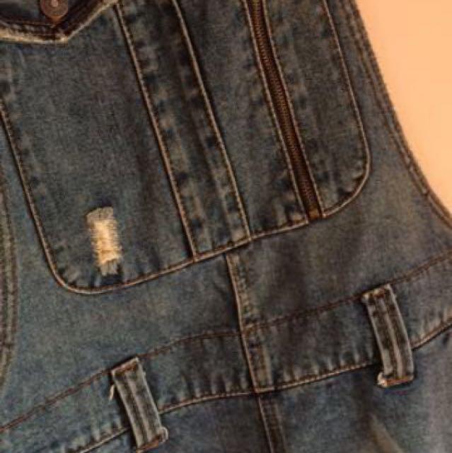 Tattered Denim Jumper Skirt