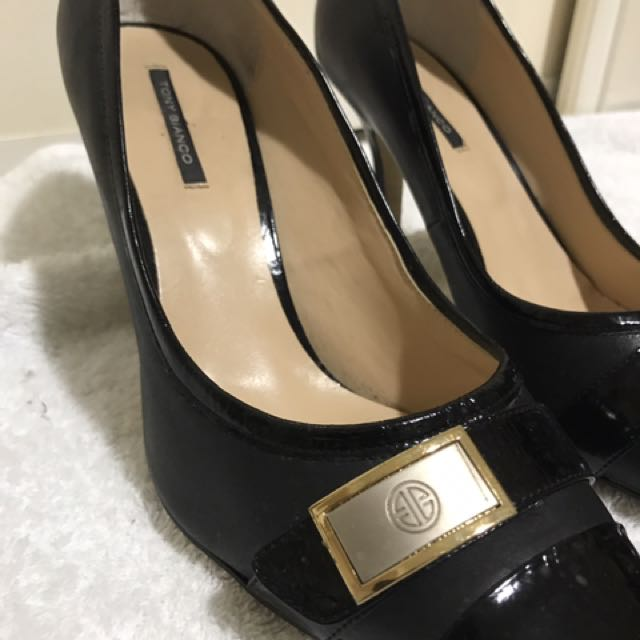 Tony Bianco Black And Gold Vintage Heels