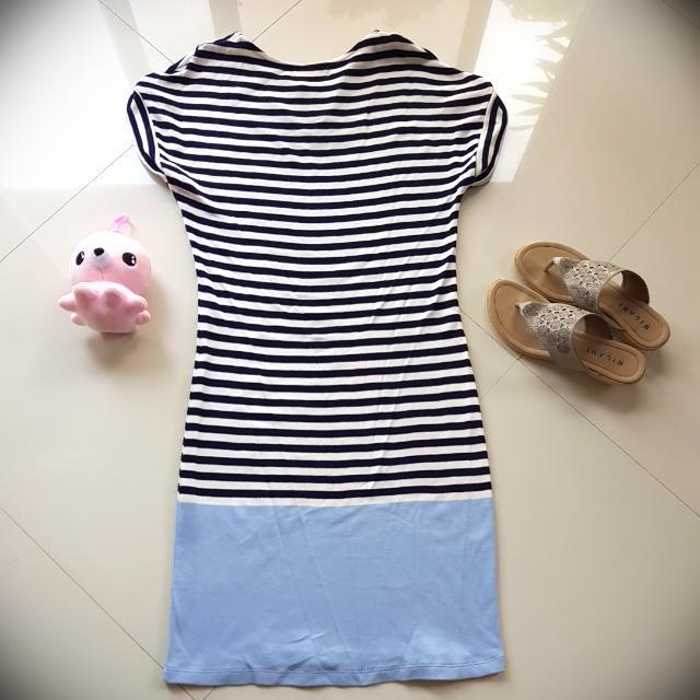 White and Blue Stripes Dress - Bayo