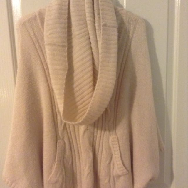 White Knitted Poncho