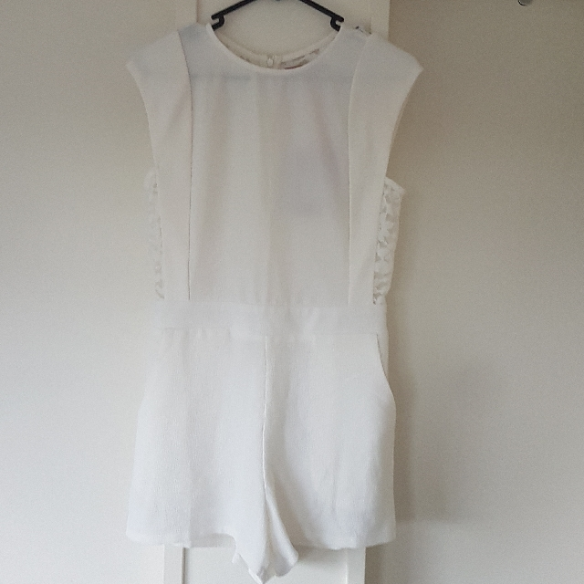 White Lace Detail Playsuit