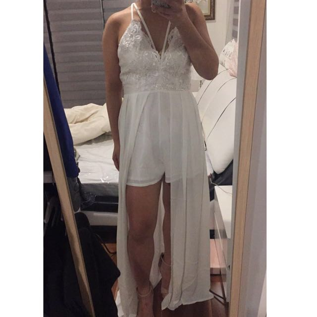 3313ba4d1ea New White Laced Maxi Playsuit from Peppermayo