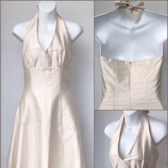 White Silk Halter Dress