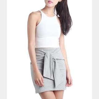 TTR The Tinsel Rack Bravery Tie-front Skirt In Heather Grey (size m)