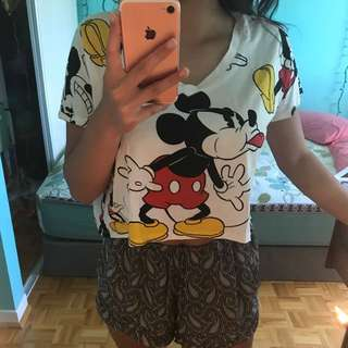 Flowy F21 Mickey Mouse Crop Top