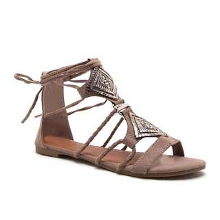 New Taupe Lace Up Sandals