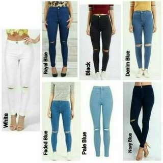 High Waist Knee Ripped Jeans