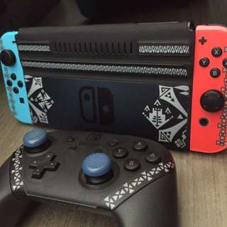 Switch 主機,cover,pro掣 Monster Hunter貼