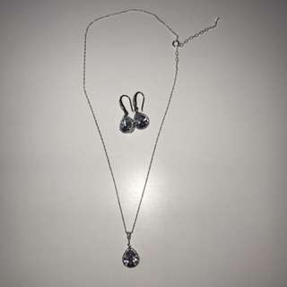 Sterling Silver Teardrop Necklace And Earrings