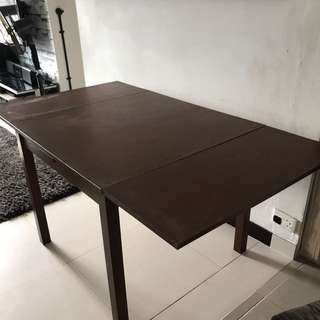 BJURSTA Extendable table, brown, 90/129/168x90 cm