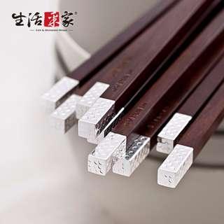 頂級工藝10雙裝銀圓點紅木筷組#11005