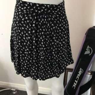 Black And White Flowers Skirt.