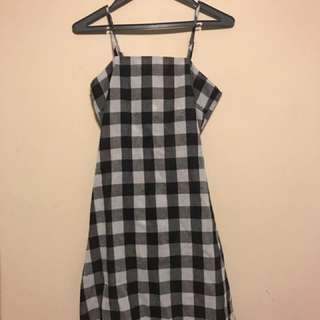 Thick BW gingham print mini dress