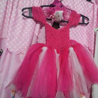 gown for 1 -2 years old baby girl w/ headband hello kitty