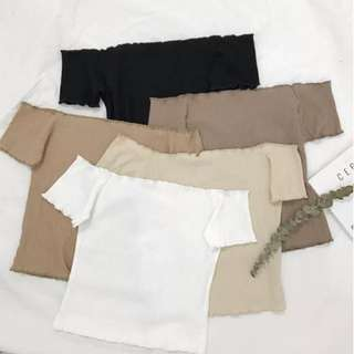 PO: 5 Colours White Beige Light Brown Black Khaki Korean Style Chic Basic Plain Minimalist Off Cold Shoulder Short Sleeve Frilly Trim Hem T Shirt Camisole Bodycon Ribbed Shirt Top