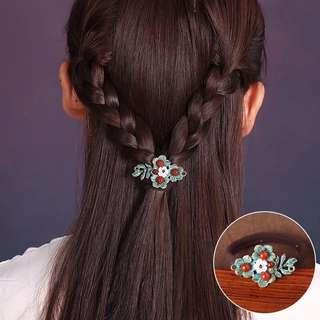 預購「中國風瑪瑙貝殼花朵金屬髮束髮帶」