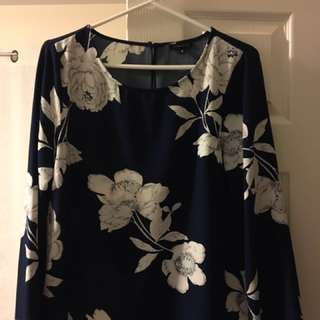 Navy Blue Floral Blouse