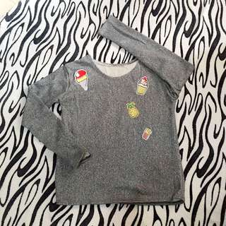 Patched Gray Sweatshirt