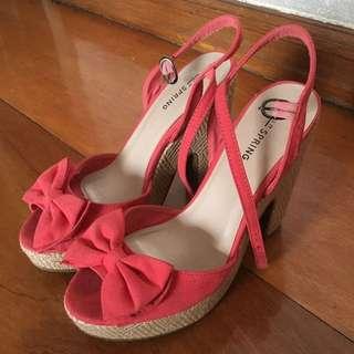 Call It Spring Peach Wedge Heels