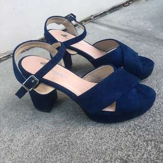 Ladies Blues Velvet Heels