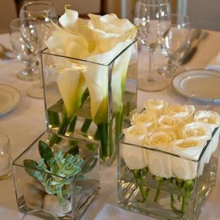 Square Vase Minimalist Style Flowers - Jeium