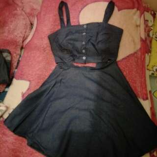 Denim Croptop And Skirt Terno