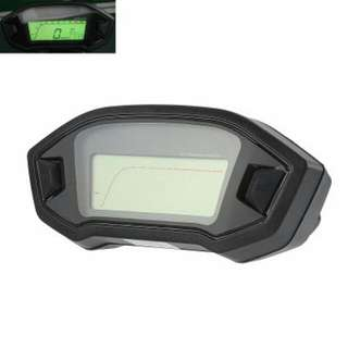 Universal Digital Motorcycle Odometer - Mph And Km/h, 7 Color Backlight, Time, Gear, Speed, Distance Traveled (CVACC-C525)