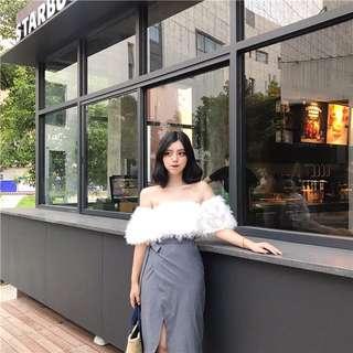 🚚 復古韓國chic風一字領露肩羽毛短袖雪紡衫女夏季氣質上衣