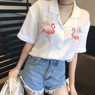 🚚 復古韓國chic風刺繡火烈鳥寬松西裝領白色短袖女襯衫夏季上衣襯衣