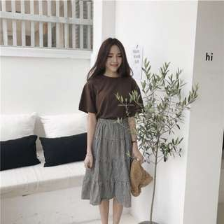 🚚 復古韓國chic風簡約奶咖色基礎款夏季純色女士短袖t恤衫