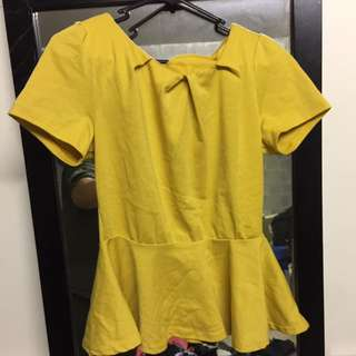 Mustard Colour Peplum Top