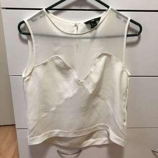 White Sleeveless Sheer Top Size 4 (XS)