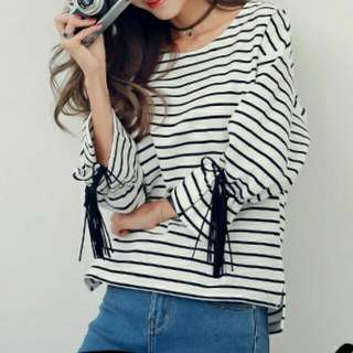 White With Black Stripes T Shirt