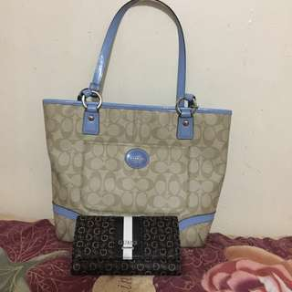 RUSH SALE! Authentic Coach Leather Handbag and Authentic Guess Wallet