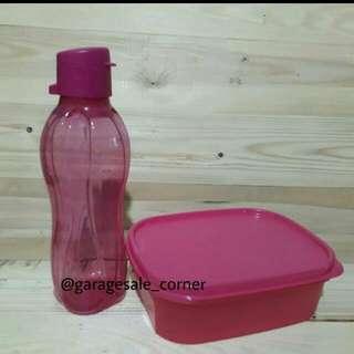 eco bottle 500ml flip.. mini rectangular pink ..