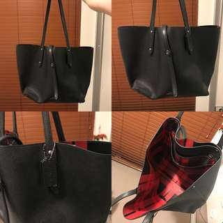 Coach Tote Handbag Leather Black