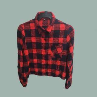 Cropped Plaid Button Up
