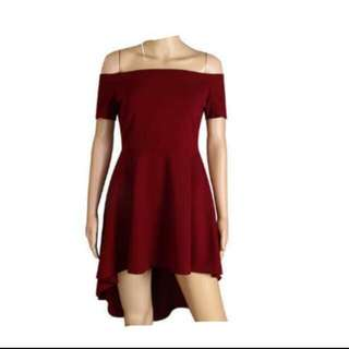 Off Shoulder Red/Blue Slash Neck Skater Dress Ready Stock