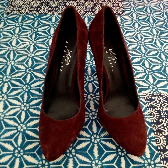 424 Fifth Burgundy Suede Pumps- Sz 6